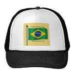 Waving flag of Brazil Hats
