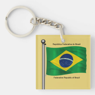 Waving flag of Brazil Double-Sided Square Acrylic Keychain