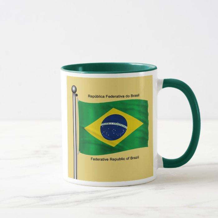 Waving flag of Brazil Mug