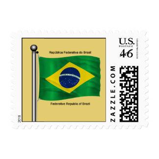 Waving flag of Brazil Postage