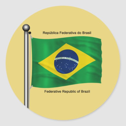 Waving flag of Brazil Round Stickers