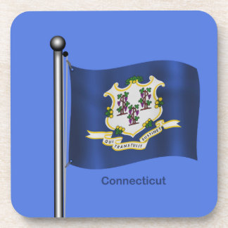 Waving Flag of Connecticut Drink Coaster