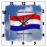 Waving Flag of Croatia Wallclock