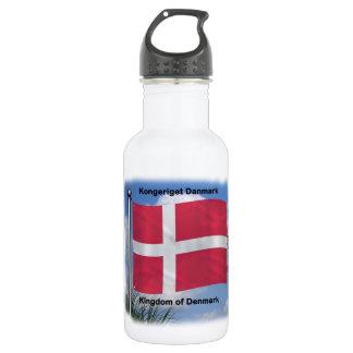 Waving Flag of Denmark Stainless Steel Water Bottle
