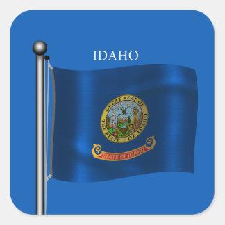 Waving Flag of Idaho Square Sticker