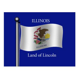 Waving flag of Illinois Postcard