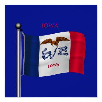 Waving Flag of Iowa Poster
