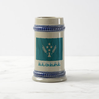 Waving flag of Kosrae, with name 18 Oz Beer Stein