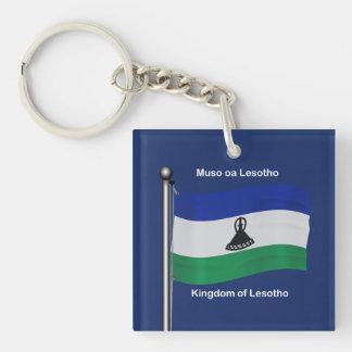 Waving Flag of Lesotho Double-Sided Square Acrylic Keychain