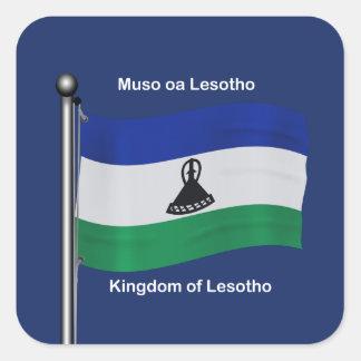 Waving Flag of Lesotho Square Sticker