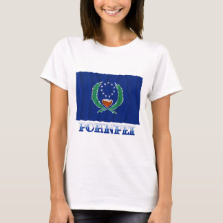 Waving flag of Pohnpei, with name T-Shirt