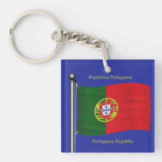 Waving Flag of Portugal Double-Sided Square Acrylic Keychain