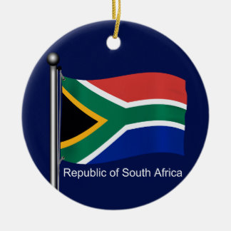 Waving Flag of South Africa Double-Sided Ceramic Round Christmas Ornament