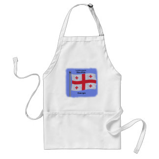Waving Flag of the Country of Georgia Adult Apron