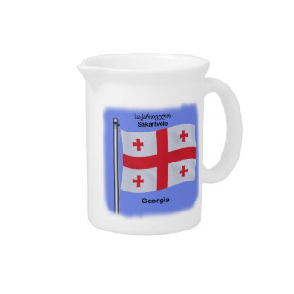 Waving Flag of the Country of Georgia Beverage Pitcher