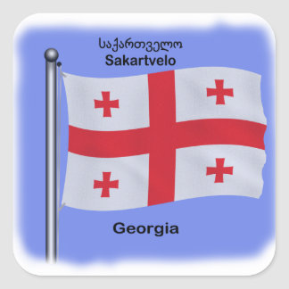 Waving Flag of the Country of Georgia Square Sticker