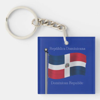 Waving Flag of the Dominican Republic Keychain