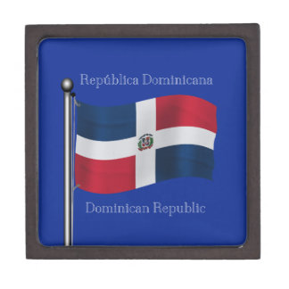 Waving Flag of the Dominican Republic Premium Trinket Box