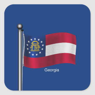 Waving Flag of the State of Georgia Square Sticker