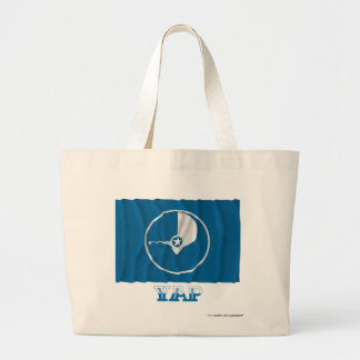 Waving flag of Yap, with name Large Tote Bag