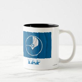 Waving flag of Yap, with name Two-Tone Coffee Mug