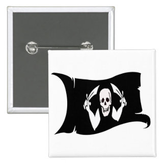 Waving Flag-Pirate Icon #4 Pinback Buttons