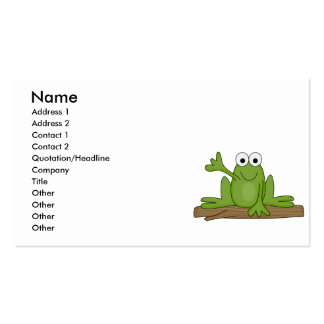 waving froggy frog business card