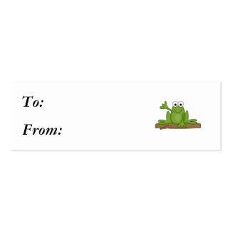 waving froggy frog mini business card