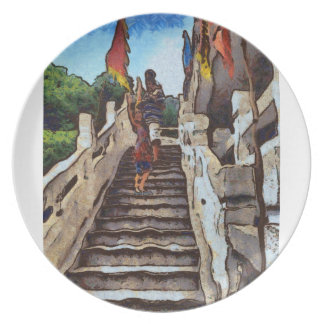 Waving from the steps plate