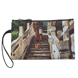 Waving from the steps wristlet