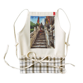 Waving from the steps zazzle HEART apron