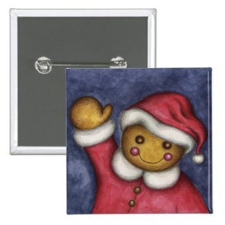 Waving Gingerbread Pinback Button