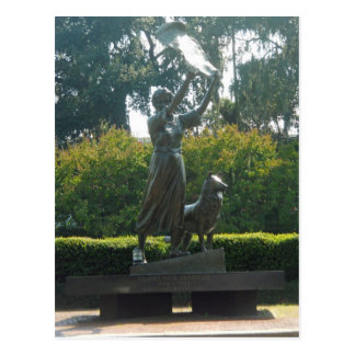 Waving Girl Statue Savannah, Georgia Postcard
