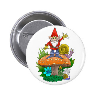 Waving Gnome.jpg Pinback Button