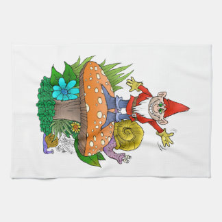 Waving Gnome on a kitchen towel. jpg Hand Towel
