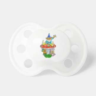 Waving gnome on a pacifier. pacifier