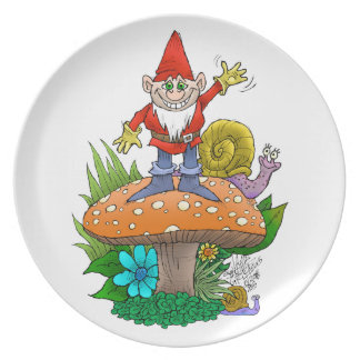 Waving Gnome on a party plate. jpg Dinner Plate