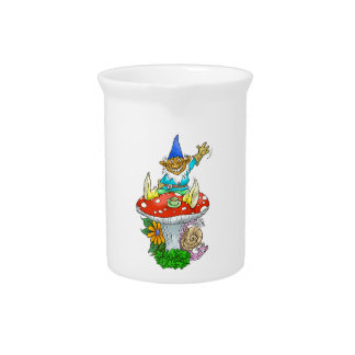 Waving gnome on a pitcher. drink pitcher
