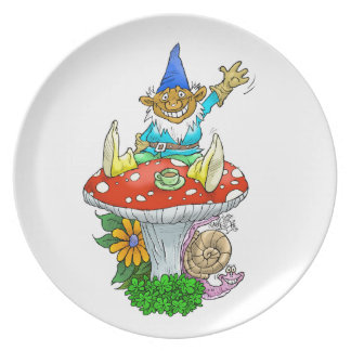 Waving gnome on a plate. melamine plate
