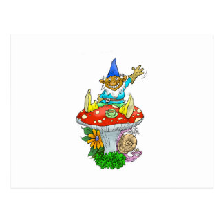 Waving gnome on a postcard. postcard