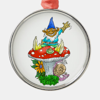 Waving gnome on a premium round necklace. metal ornament