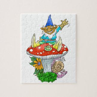 Waving gnome on a puzzle. jigsaw puzzle