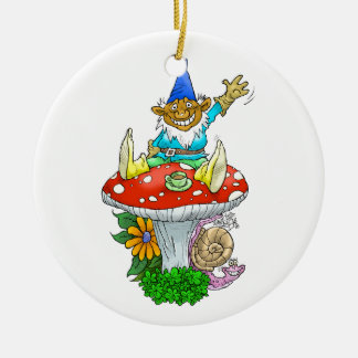 Waving gnome on a round ornament. ceramic ornament