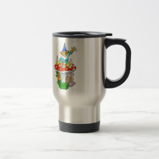 Waving gnome on a travel mug. travel mug