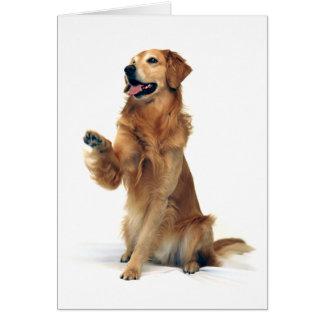 Waving Golden Retriever Card