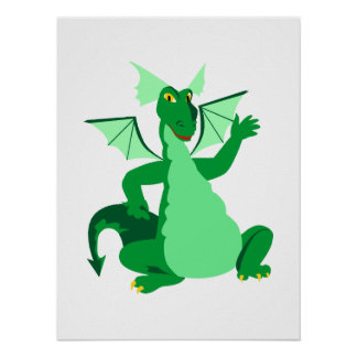 Waving Green Dragon Print