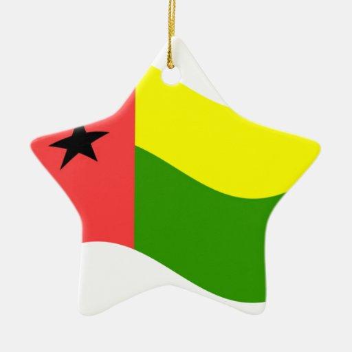 Waving Guinea-Bissau Flag Christmas Ornaments