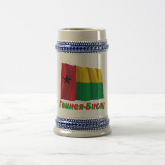 Waving Guinea-Bissau Flag with name in Russian Beer Stein