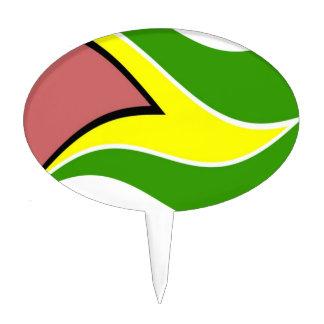 Waving Guyana Flag Cake Topper