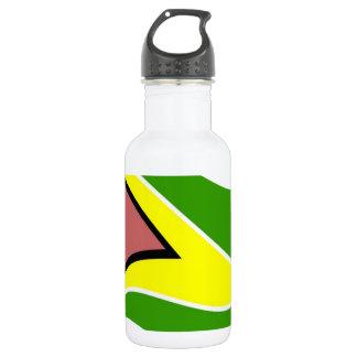 Waving Guyana Flag Stainless Steel Water Bottle